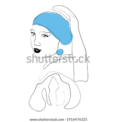 Girl with a pearl earring. Painting in the style of minimalism, simulation under the texture of coal. With colored flat accents