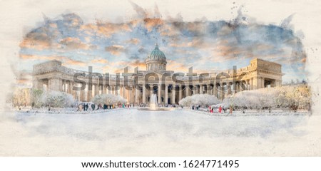 Stylized by watercolor sketch painting of Kazan Cathedral or Kazanskiy Kafedralniy Sobor. Cathedral of Our Lady of Kazan on the Nevsky Prospekt in Saint Petersburg, Russia. Retro style postcard.