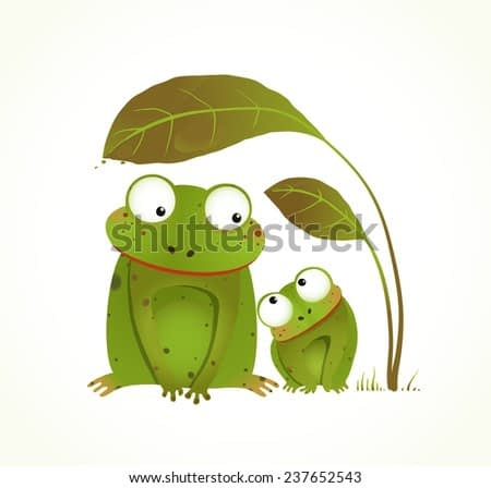 Two Frogs Mother and Baby Childish Animal Cartoon. Hand drawn watercolor style drawing of animals. Raster variant.