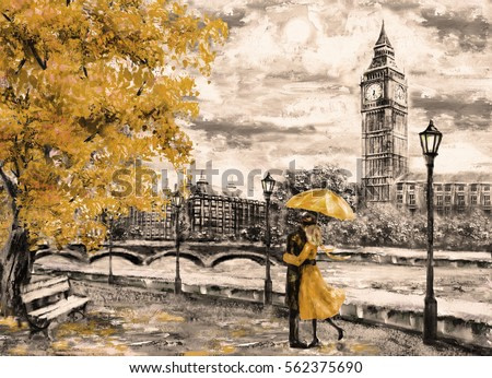 oil painting on canvas, street of london. Artwork. Big ben. man and woman under an yellow umbrella. Tree. England. Bridge and river