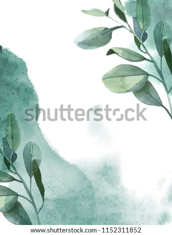 Watercolor illustration. Vertical background of green eucalyptus leaves and green paint splash on white background