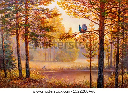 Capercaillie in the central european forest. Oil painting landscape , sunset summer forest, beautiful river.