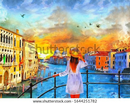 painting of standing girl in Venice grand canal Italy, Amazing view, illustration , watercolor, oil on canvas , wallpaper , buildings, river, woman, sunset , art, artwork. artist collection