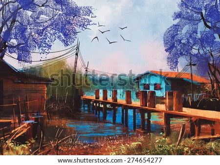 old fishing village,oil painting style,illustration