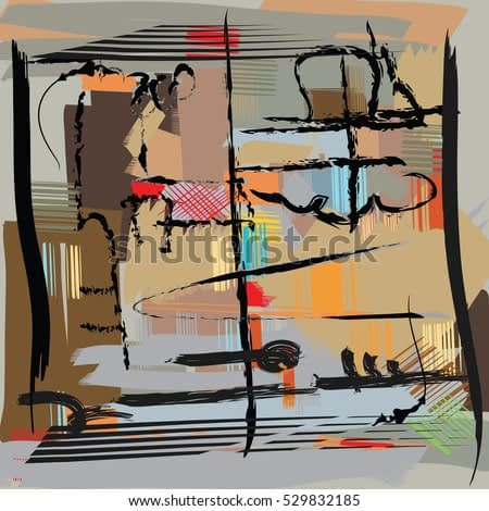modern art abstract painting. Multicolor pattern digital illustration, freehand drawing