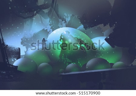 the man standing on glowing eggs with a monster inside,sci-fi concept,illustration painting