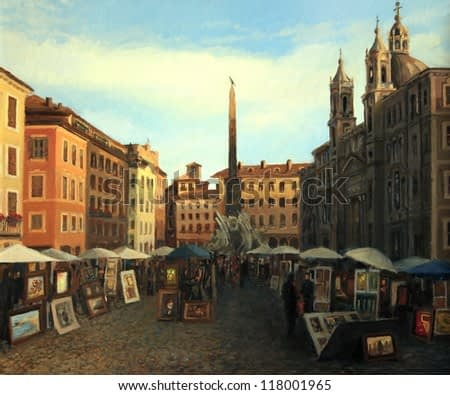 An oil painting on canvas of one of my favorite places in Rome, the city square Piazza Navona in a late June afternoon, with all the buildings enlighten by the warm light of the sunset.