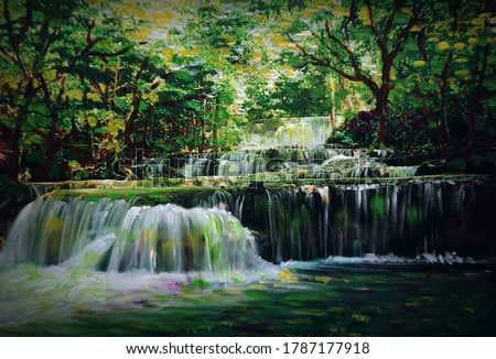 Art Oil painting Fine art color Beautiful waterfalls in Thailand