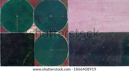 composition,  United States, abstract photography of relief drawings in fields in the U.S.A. from the air, Genre: abstract expressionism, abstract expressionist photography,