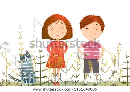 Kids Boy Girl and Cat in Grass field. Young kids and domestic cat in the grass cartoon. Vector illustration.