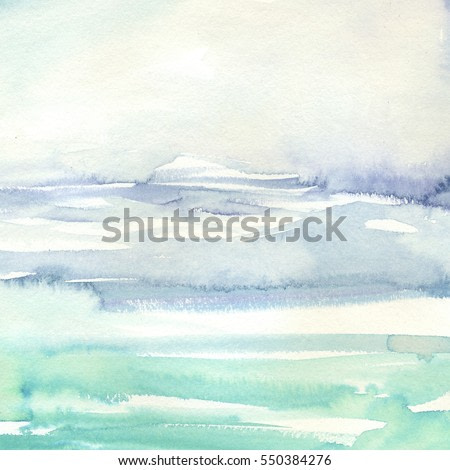 Watercolor wash turcuoise grey pale violet  sea hand painted.