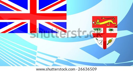 Airplane image superimposed over Flag of Fiji, national country symbol illustration indicating commercial air travel