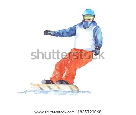 Boy on the snowboard hand drawn. Sportsman in watercolor isolated on a white background. Winter sports illustration. Extreme sports watercolor drawing. Snowboard and skiing watercolors