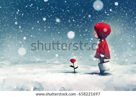digital painting of girl on snow-covered park and looking at red roses, story telling illustration