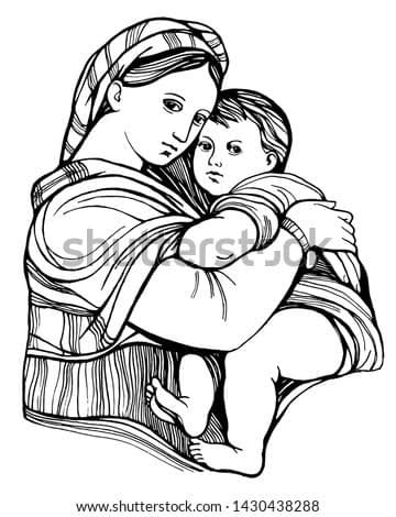 Graphic image of the Madonna and Child. Hand drawing outline isolated.  Sketch made from paintings by Raphael. Suitable for print, card, mother's day greetings. Stock vector illustration.