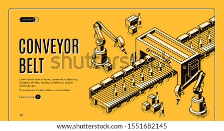 Factory conveyor belt isometric landing page. Robotic arms packing milk bottles production on transporter line. Automation, smart industrial robot assistants. 3d vector illustration, line art, banner.