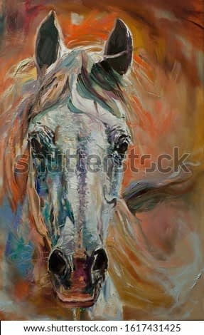 horse head painting oil on canvas artwork