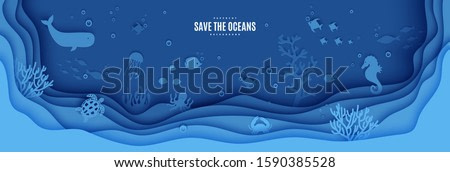 Paper cut butterfly fish, seahorse, moonfish, turtle, crab, octopus. Paper craft layered background under ocean cave with fishes coral reef seabed in algae waves. Vector sea marine life concept