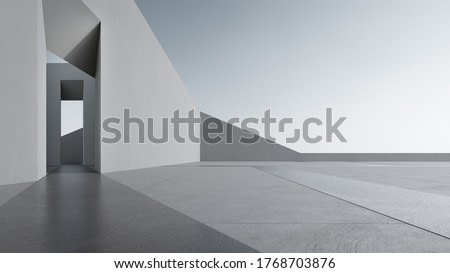 Empty concrete floor for car park. 3d rendering of abstract gray building with clear sky background.