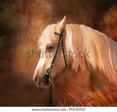 Horse portrait. Simulation of old painting style