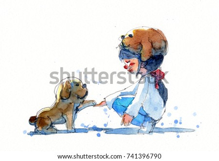 watercolor painting illustration set of girl in puppy hat with her dog, traditional artwork scanned