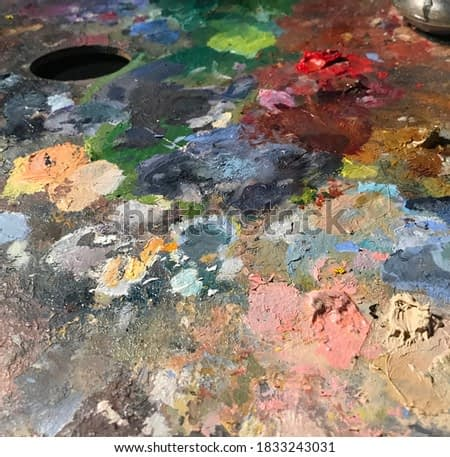 Oil painting classic palette with lots of colors