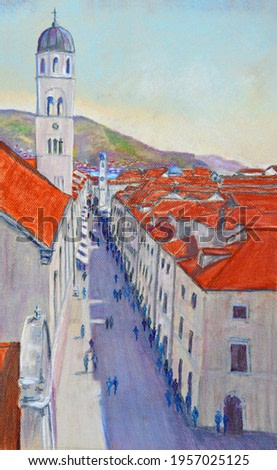 Pastel Painting of Dubrovnik street with bell and clock towers.