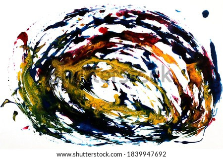 Ink, paint, abstract. Closeup black,red,yellow abstract hand draw  painting background. Highly-textured oil paint.