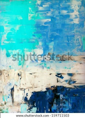 Turquoise and Blue Abstract Art Painting