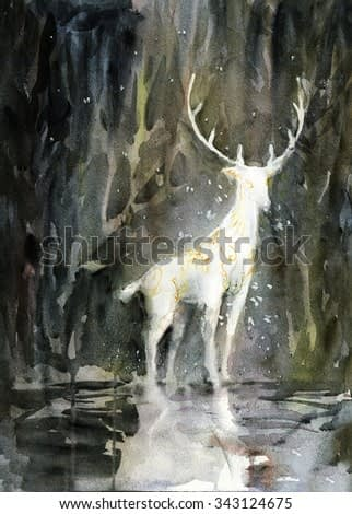 White deer watercolor painting