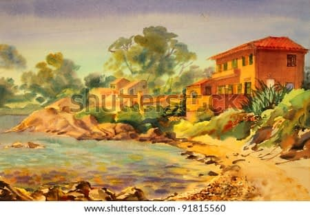 Watercolor painting of the building in St. Tropez, Cote d'Azur, France.