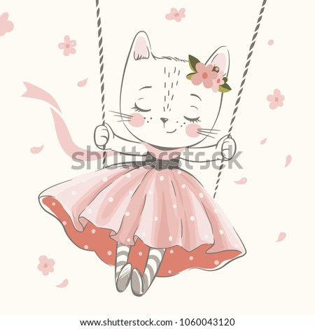 Cute kitty in the swing hand drawn vector illustration. Can be used for t-shirt print, kids wear fashion design, baby shower invitation card.