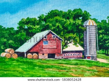 Farm, red barn. Country landscape with farmer barn. American flag. Watercolor painting.