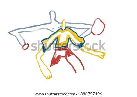 Colorful abstract people, expressionism and Keith Haring art style. Two Abstract people playing with ball. Painting Drawing with primary color, for print and wall art.