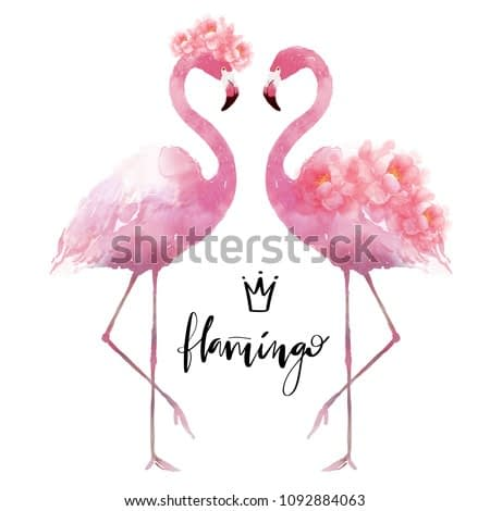 Flamingo with flowers watercolor hand drawn illustration for fashion greeting card design