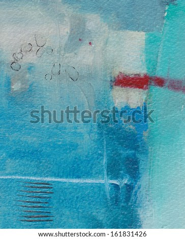 Abstract blue grunge background - brush strokes on paper with space for text