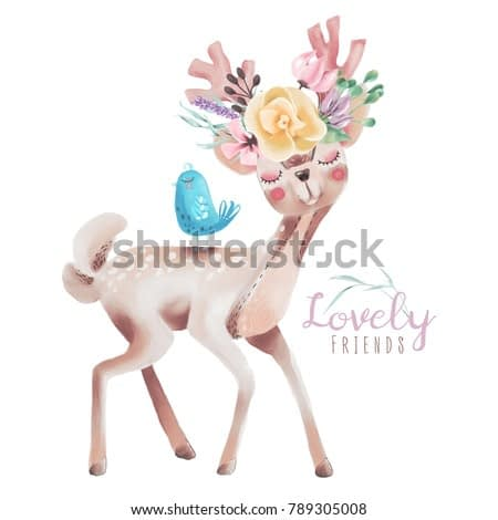 Cute watercolor dreaming deer, fawn with flowers on the horns and little blue baby bird. Lovely friends woodland, forest animals isolated on white