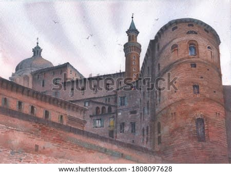 City landscape watercolor castle or fortress in the city of Urbino Italy is the place of the birthplace of Raphael.
