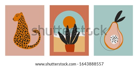 Digital art illustrations with cheetah, leopard, planr and sun, nature and fruit. Minimalist line art with simple colors. Modern posters for wall art, prints, cards. Vector graphics