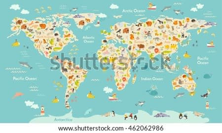 Map animal for kid. Continent of world, animated child's map. Vector illustration animals poster, drawn Earth. Continents and sea life. South America, Eurasia, North America, Africa and Australia