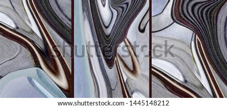 Collection of designer oil paintings. Decoration for the interior. Modern abstract art on canvas. Set of pictures with different textures. Blue, grey.