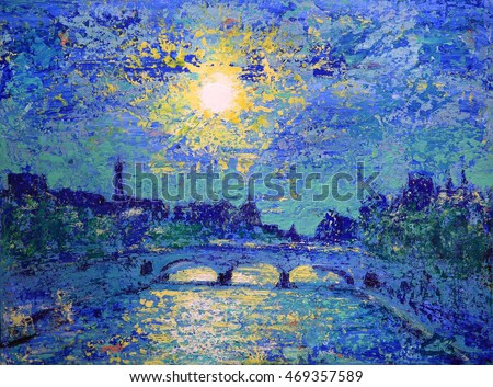 Abstract painting of the Paris sunset