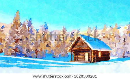 Decorative watercolor landscape with solitary snowbound log cabin among fir tree forest high in snowy alpine mountains at fine winter day. Digital art painting from my own 3D rendering file.