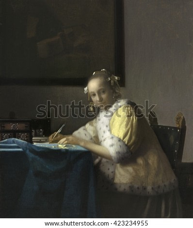 A Lady Writing, by Johannes Vermeer, c. 1665, Dutch painting, oil on canvas. Soft light illuminates the tabletop and , the woman's face. She is wearing a rich lemon-yellow morning jacket