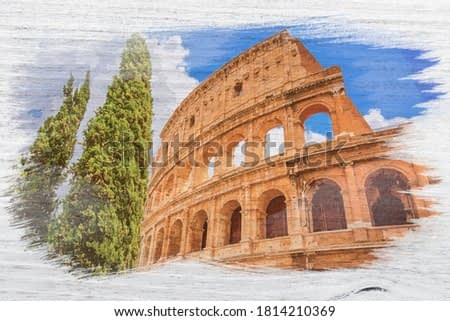 Colosseum in Rome in Italy, Europe, watercolor painting