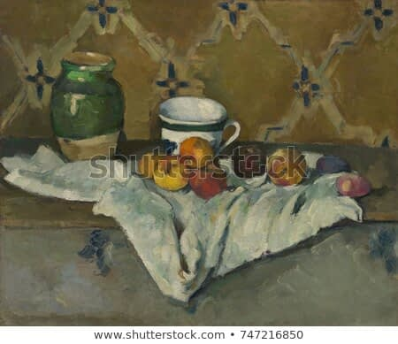 Still Life with Jar, Cup, and Apples, by Paul Cezanne, 1877, French Post-Impressionist oil painting. The wallpapers diagonal pattern continues in the folds of white cloth