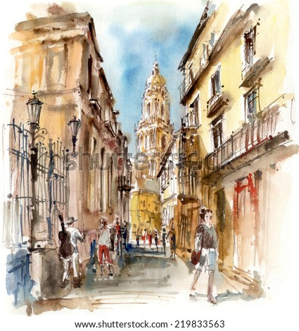 View of the Cathedral of Malaga, watercolor illustration