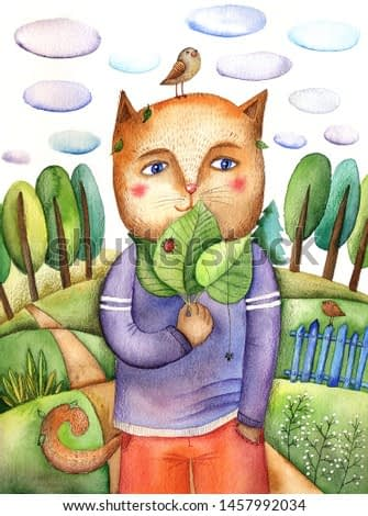watercolor  illustration  a cat with leaves in purple  sweatshirt