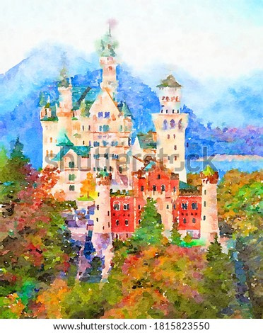 Original watercolor painting of famous Neuschwanstein castle in Bavaria, Germany.