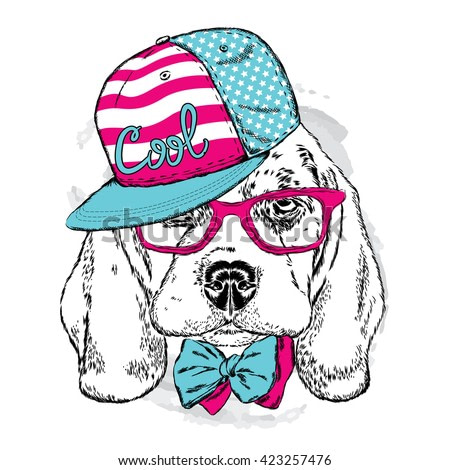 Cute puppy wearing a cap , sunglasses and tie . Vector illustration. portrait of a dog for postcards, prints on clothes or accessories .